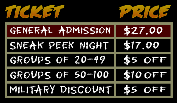 2018 Field of Horrors Ticket Prices